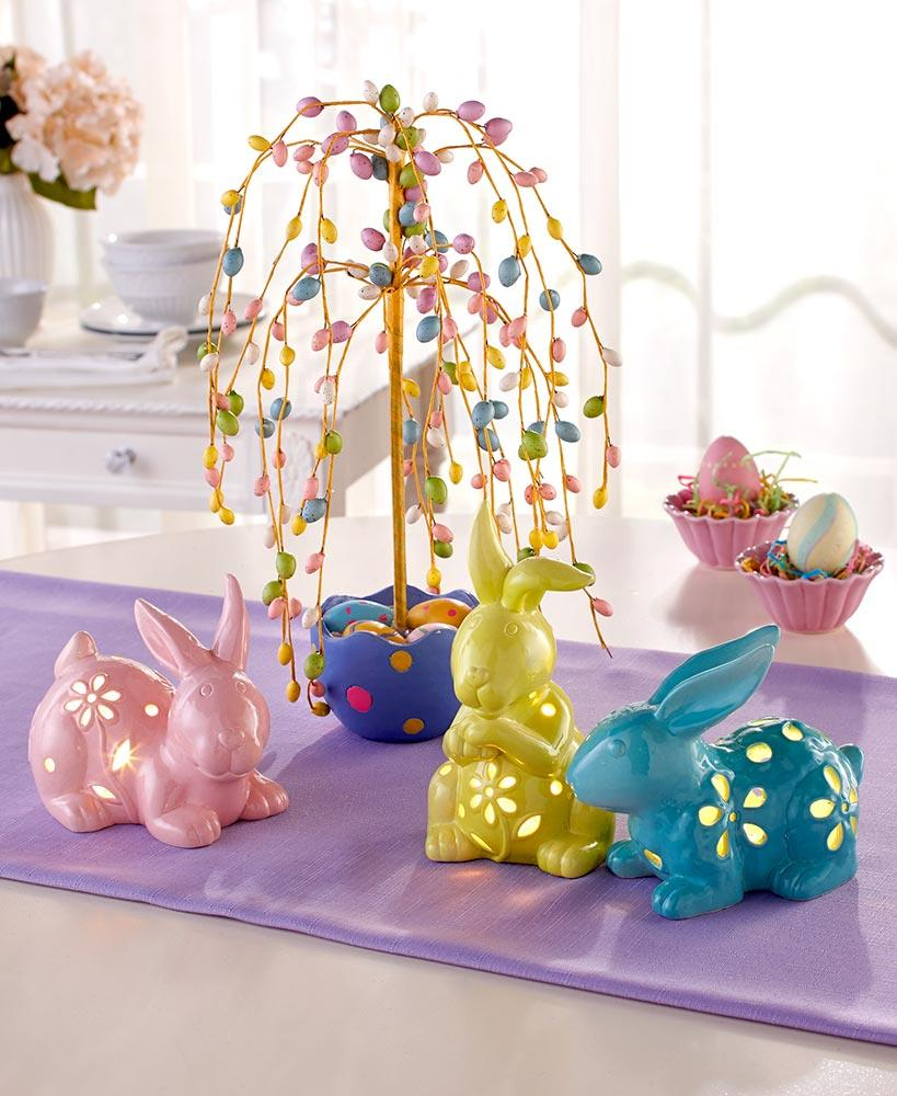 Easter Egg Tree Table Topper Centerpiece Led Bunny Rabbits Spring