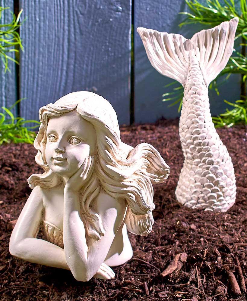 Coastal MERMAID Statue Amp Starfish Set Flower Bed
