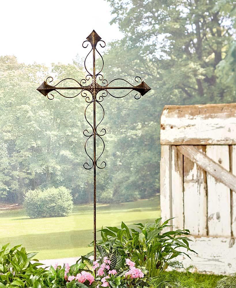 4 FT Tall Scrolled Metal Cross Memorial Garden