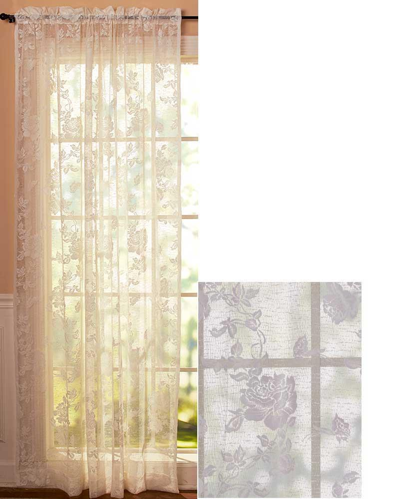 NEW Abbey Rose Vintage Lace Curtains Swag Valance WHITE 63