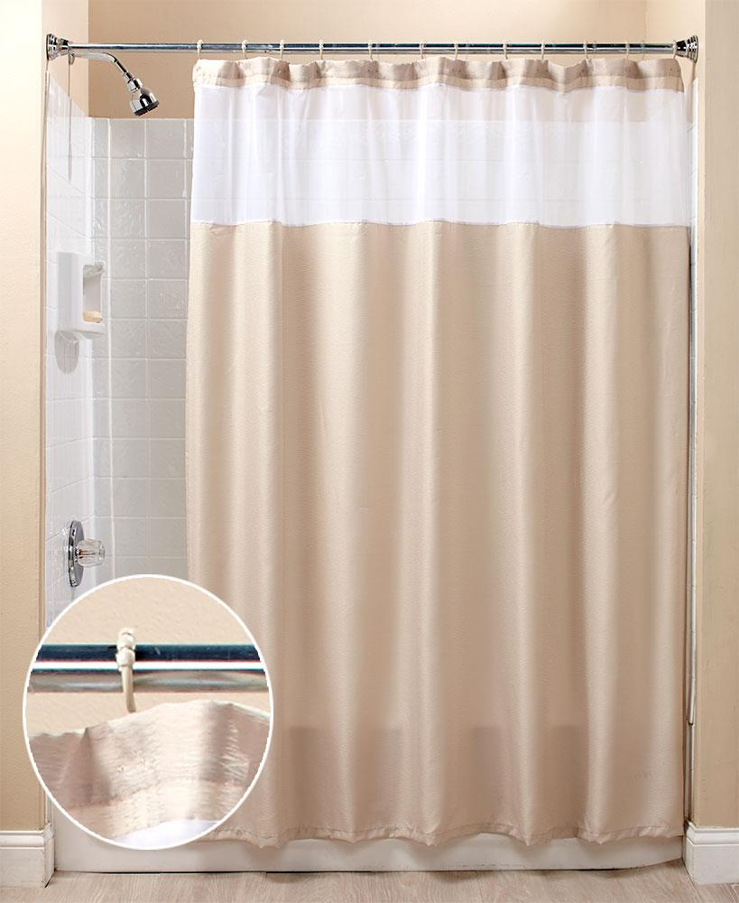This Textured Shower Curtain Comes With Easy Glide Hooks Already Attached  For Quick Installation. It Has A Sheer Top That Allows Light In And A Muted  Color ...