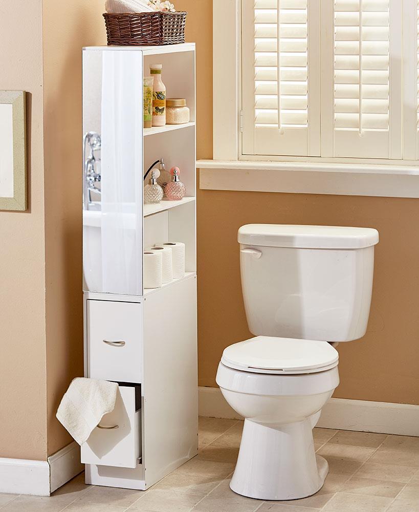 New rolling slim bathroom organizer cabinet toilet brush for Slim bathroom storage