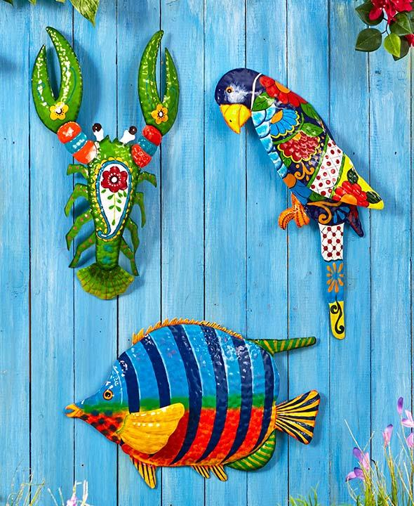 Fish Decor For Home: Tropical Sealife Bird Metal Wall Art Lobster Parrot Fish