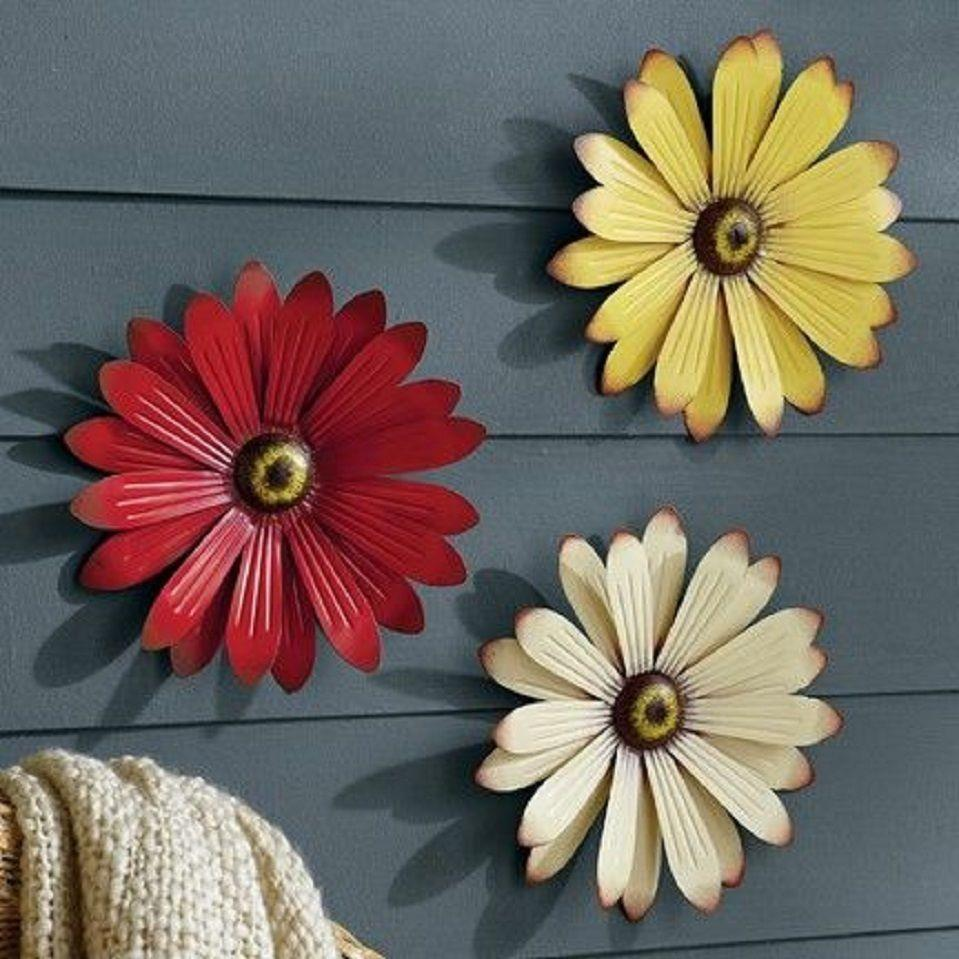 Metal Wall Flowers New Set Of 3 Outdoor 3D Patio Patio Wall Fence Metal Flowers Red
