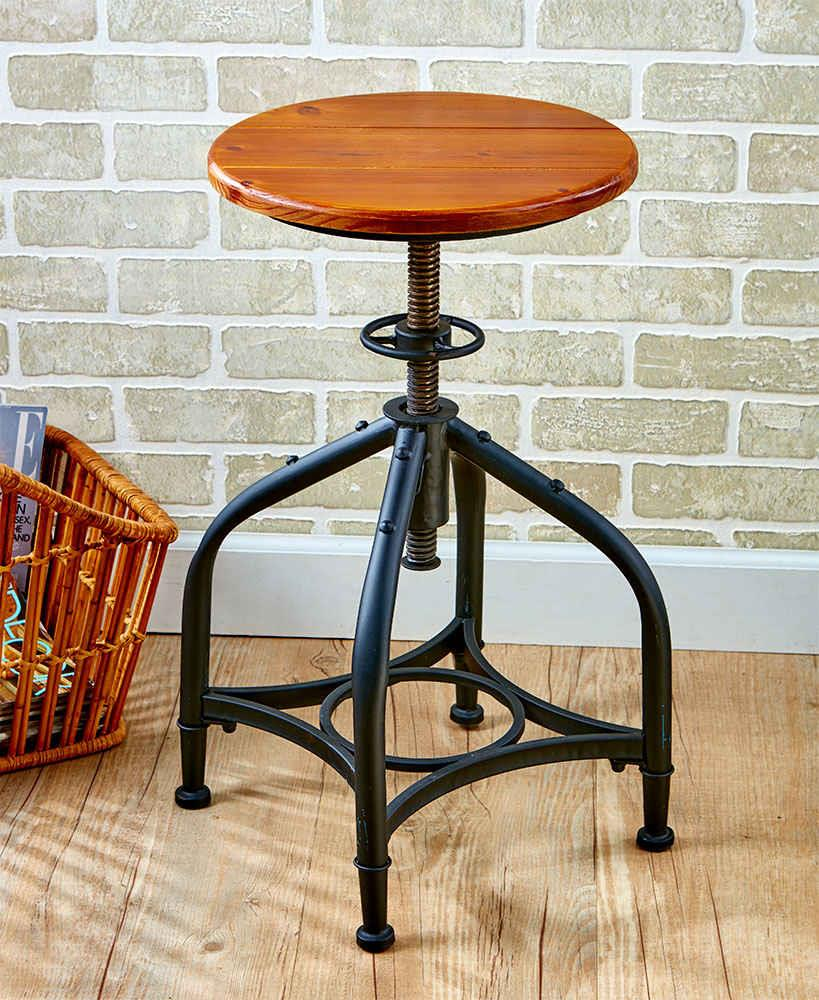 Vintage Industrial Distressed Swivel Bar Stool Adjustable