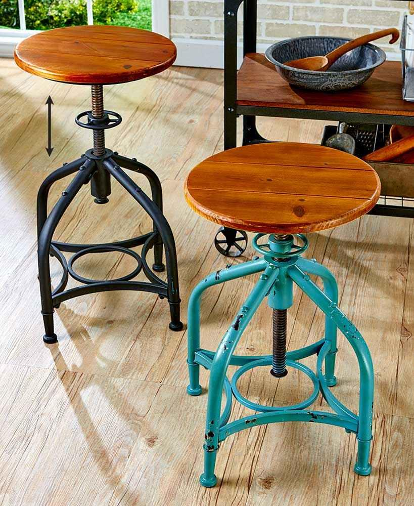 Industrial Wood Adjustable Seat Barstool High Chair: Vintage Industrial Distressed Swivel Bar Stool Adjustable