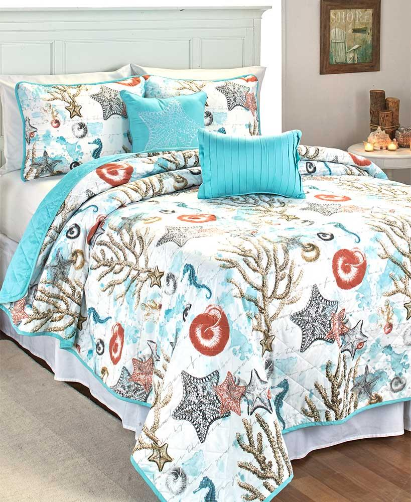 5 PC Seaside Quilt Set Blue Ocean Nautical Coral Starfish