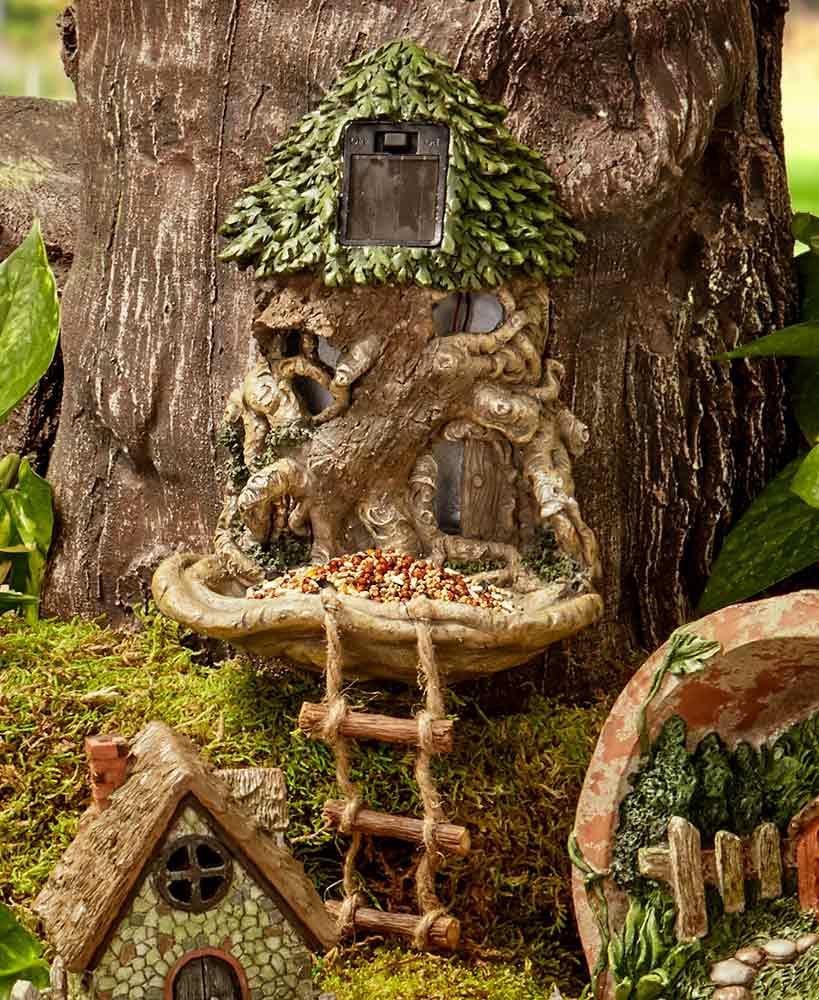 Solar Lighted Tree Stump Tree House Birdfeeder Fairy Garden Yard Art ...