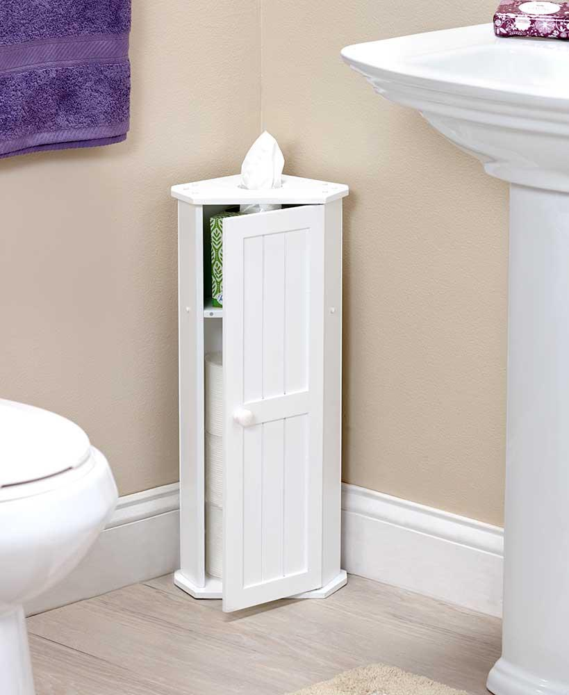 WHITE Bathroom Corner Cabinet Toilet Paper Roll Kleenex Tissue ...
