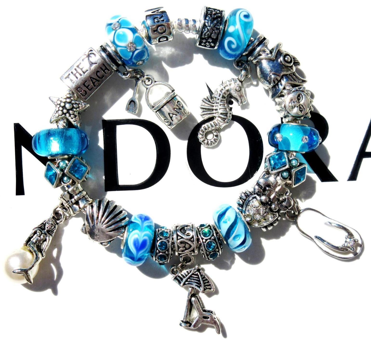 Pandora Sterling Silver Charm Bracelet Beach Bum With Murano Beads