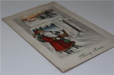Antique 1914 Posted 'Merry Xmas' Santa Claus Deer Made in ...