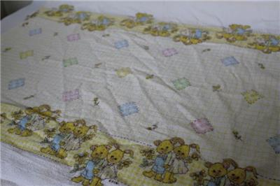0282b1dbe6 Details~ Vintage Riegel soft cotton flannel nursery crib stroller receiving  or swaddling Baby Blanket  Bunnies   flowers print  Made in USA