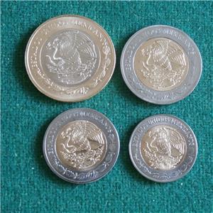 Details about 2018 MEXICO BIMETALLIC SET 4 coins 1,2,5 &10 peso aztec  calendar BU 10 lots