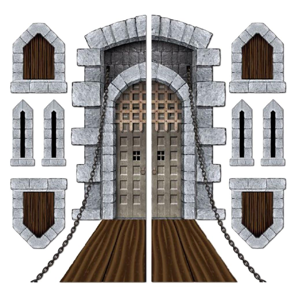 pack of 9 medieval halloween castle door windows cutouts. Black Bedroom Furniture Sets. Home Design Ideas