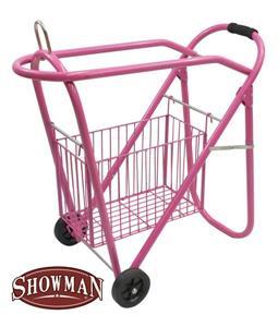 Pink Saddle Rack Rolling Stand Wheels Basket Stack Store