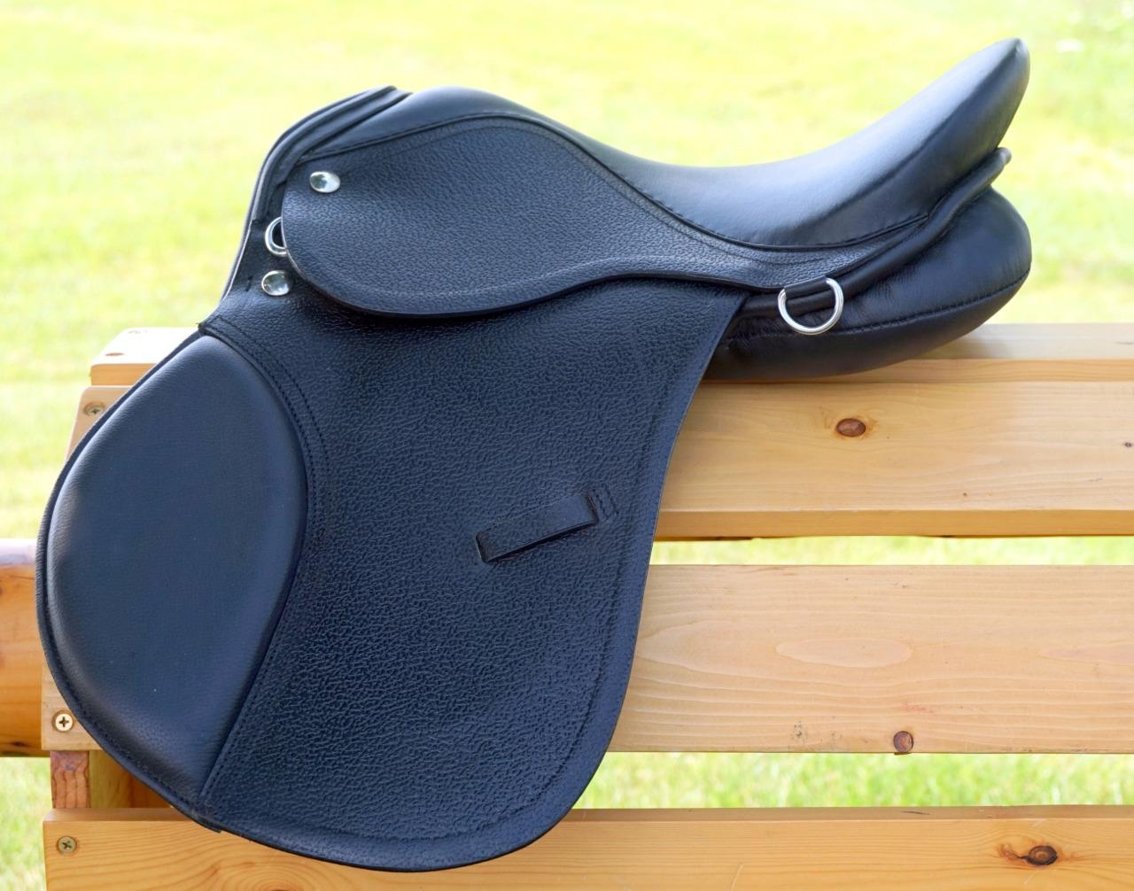 13-034-BLACK-TAN-BROWN-All-Purpose-Youth-Kids-English-EVENT-JUMP-Leather-Saddle-NEW miniature 2