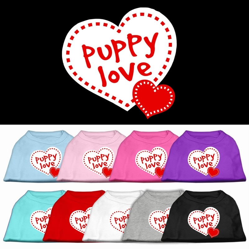 Dog Pet Puppy Valentines Day Puppy Love Rhinestone Tee Shirt Clothes Apparel