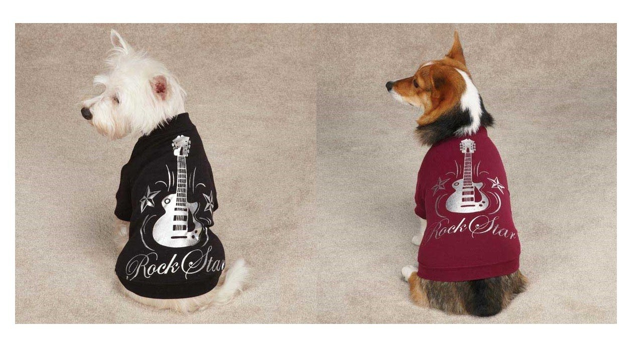 Casual Canine Rock Star Dog Tees T Shirt Puppy Pet Guitar Rock and Roll Clothes