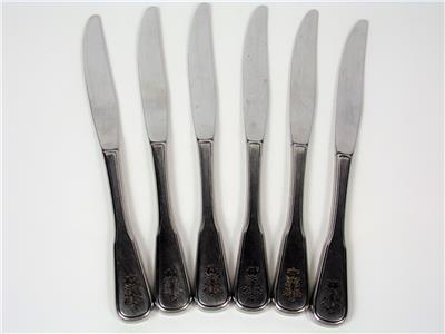 """STAINLESS 6 ONEIDA COMMUNITY PLANTATION  9 1//8/"""" MODERN HOLLOW DINNER KNIVES"""