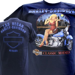 Harley Davidson Las Vegas Dealer Tee T Shirt Pinup Girl BLUE MEDIUM