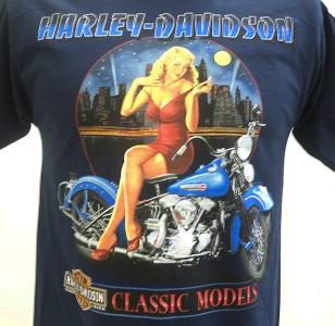 Harley Davidson Las Vegas Dealer Tee T Shirt Pinup Girl BLUE MEDIUM
