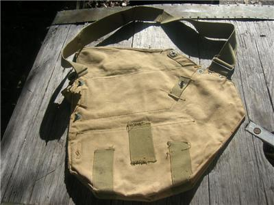 Vintage WW2 US Army Gas Mask Canvas Cover Field Gear Bag on PopScreen