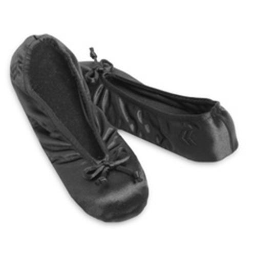 Ladies Isotoner Satin Ballet Style Slippers Black Stretch