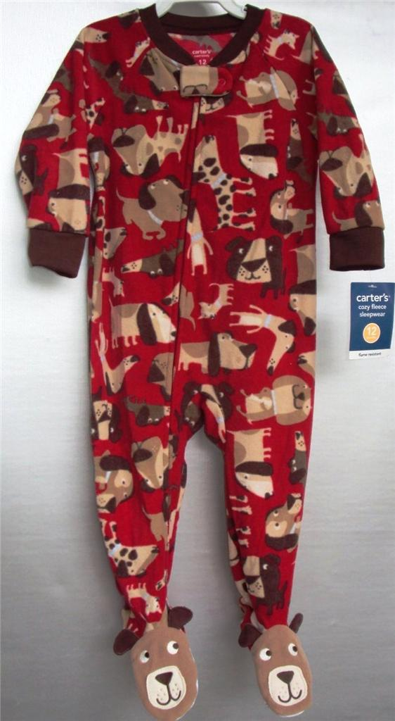 Carters Toddler Fleece Puppy Dog Blanket Sleeper Red Ebay