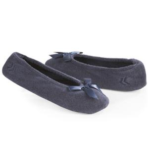 Ladies Isotoner Navy Blue Terry Ballet Style Slippers New