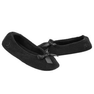 Ladies Isotoner Black Terry Ballet Style Slippers New