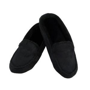 Isotoner Ladies BLACK MicroSuede Moccasin House Slippers Sturdy Sole Fleece EVA