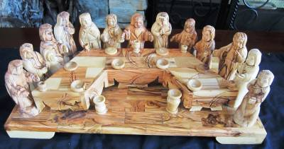 Olive Wood Last Supper Jesus Amp 12 Apostles Catechesis Of