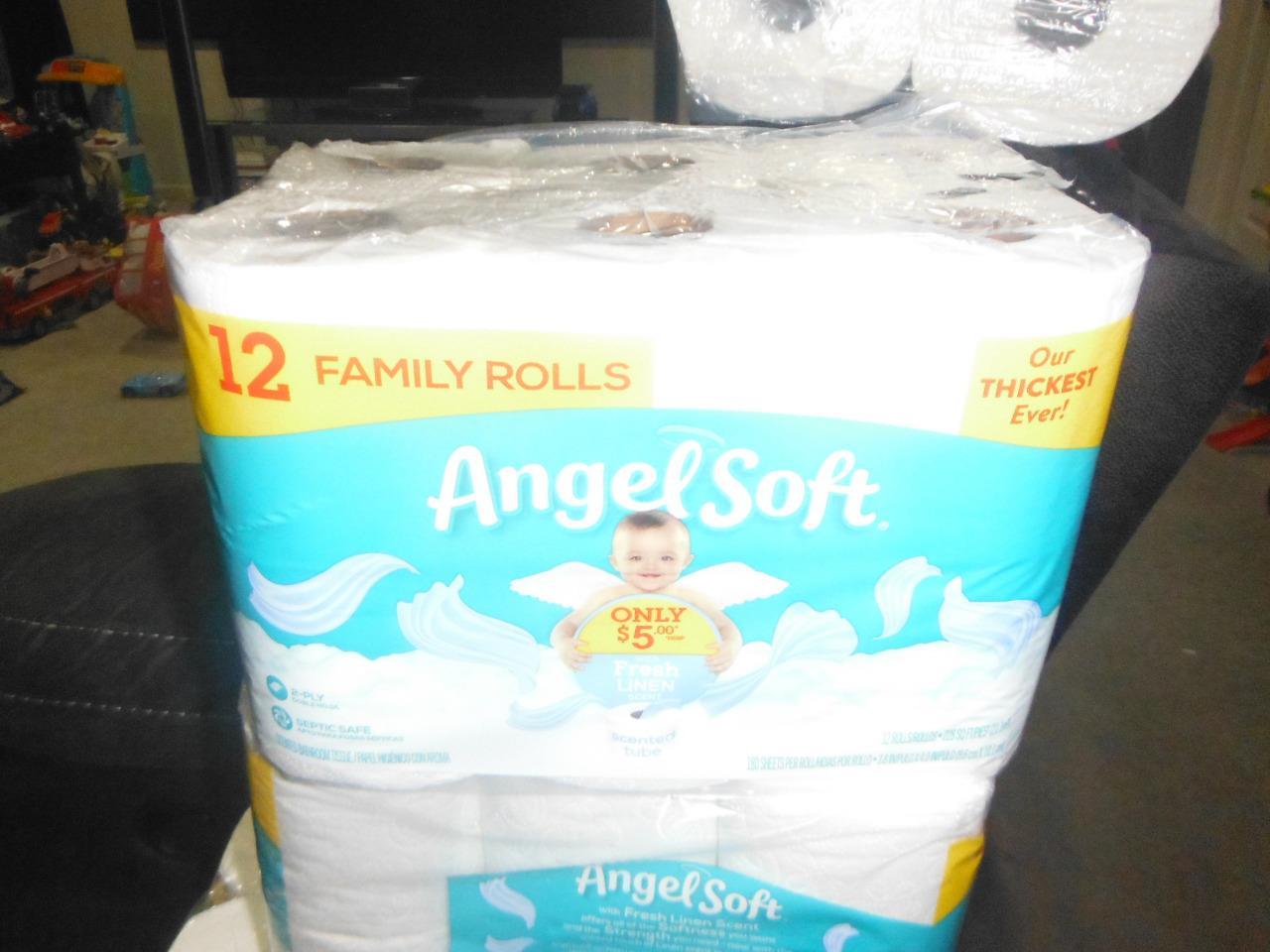 Angel Soft 12 Family Rolls Regular Ultra Strong Toilet Paper