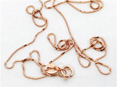 """10K 16/"""" Solid Rose Gold Thin Dainty Classic BOX Necklace Chain .5mm 10K Gold"""