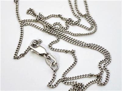 """14K 16/"""" Inch 1mm Solid White Gold Gourmette Miami Cuban Necklace Pendant Chain"""