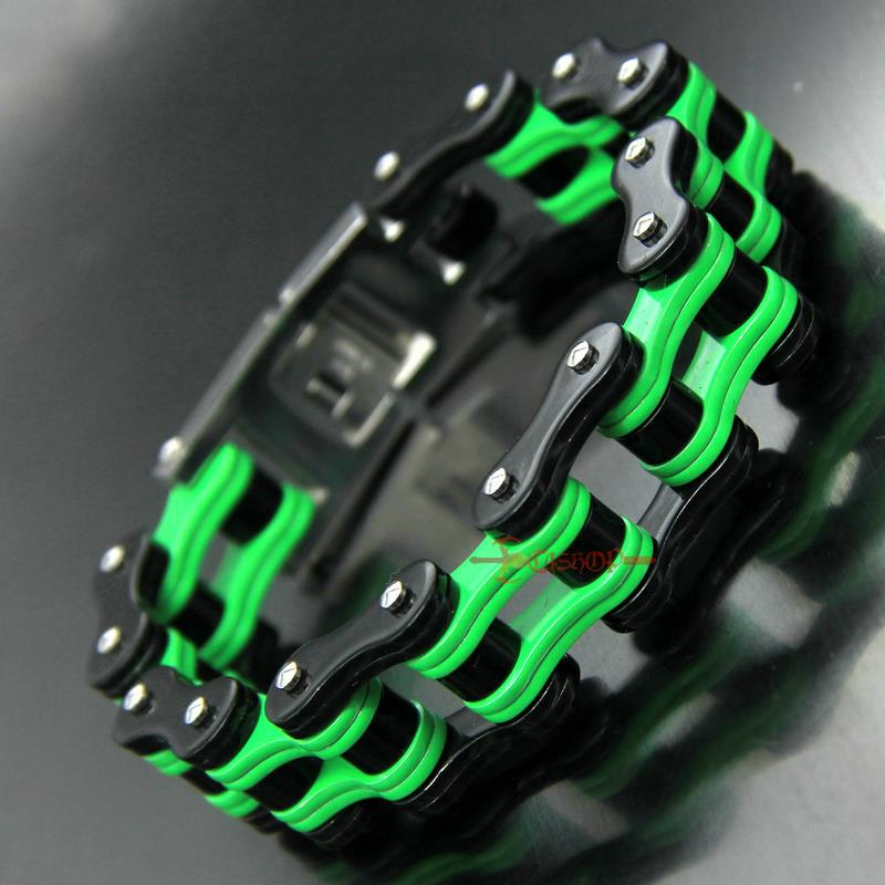 FREE Shipping! Cycolinks Kawasaki Green Bike Chain Bracelet Motorbiker Gift