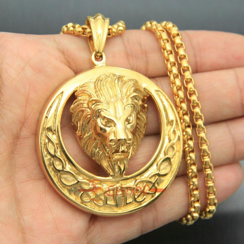 """Men/'s Stainless Steel Large Lion Head Celtic Knot Biker Pendant Necklace 22/"""""""
