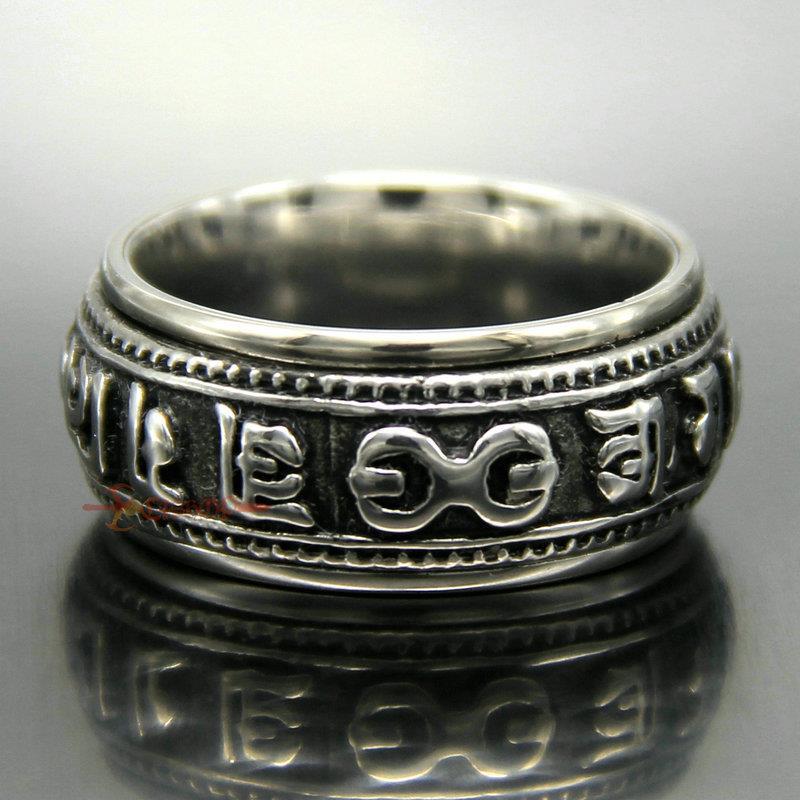 Vintage spinning tibétain sculpté en acier inoxydable OM MANI PADME HUM Amulet Ring