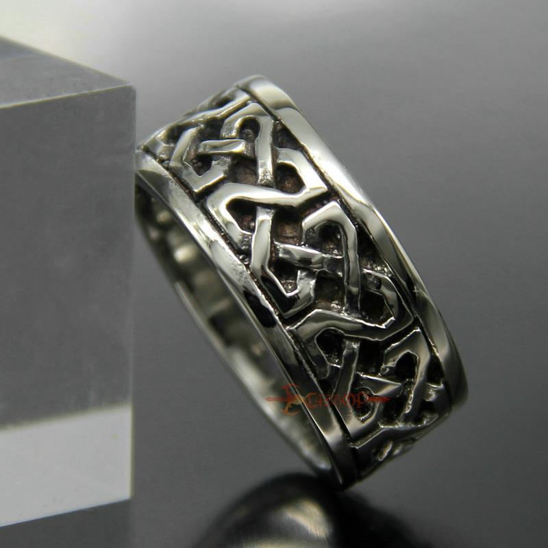 Men/'s Women/'s Vintage Celtic Infinite Knot 316L Stainless Steel Band Ring 12mm