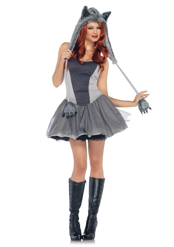 Sexy Gray Grey Wolf Petticoat Dress and Hoodie Adult Womenu0027s Halloween Costume  sc 1 st  eBay : furry halloween costumes  - Germanpascual.Com