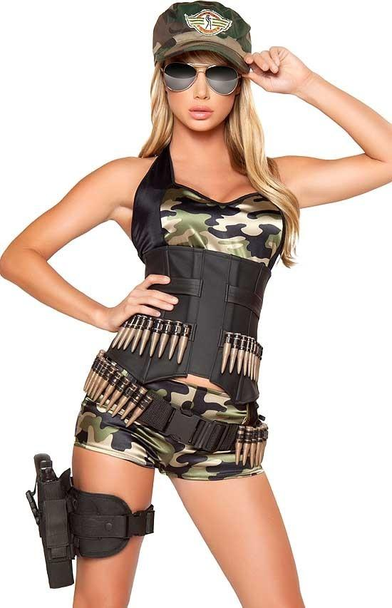 Sexy Womens Army Babe Military Cadet Camouflage Adult ...