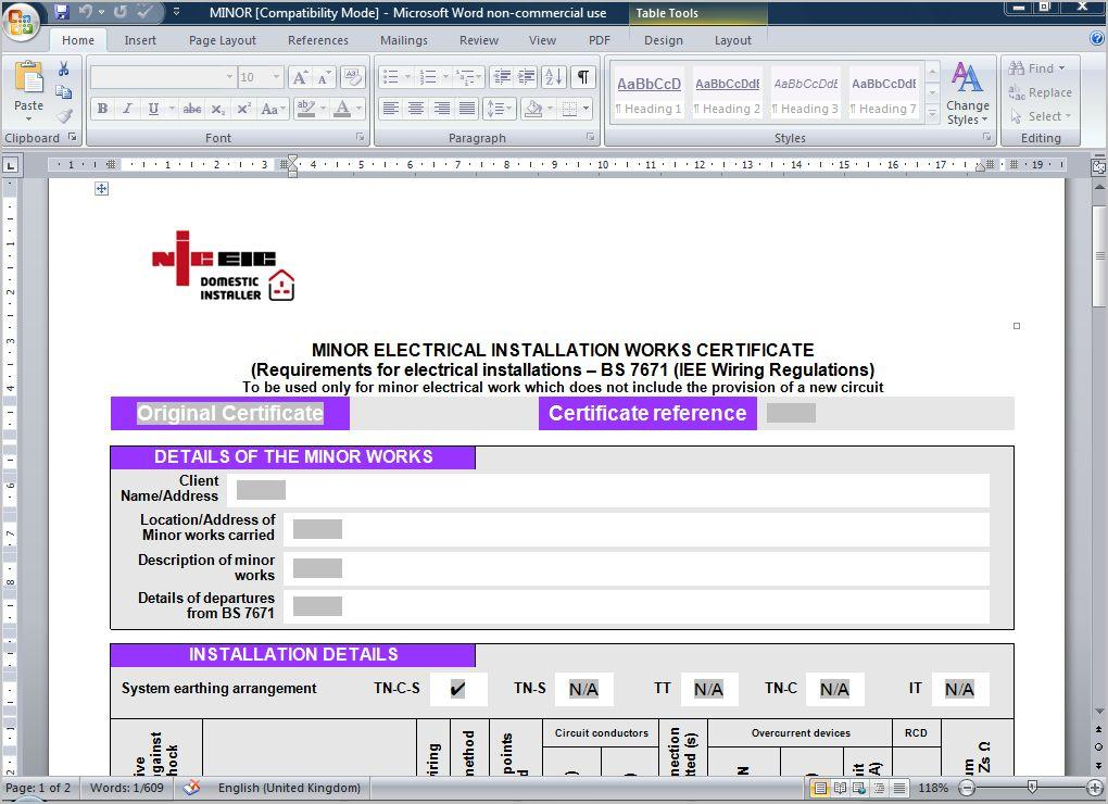 emergency lighting test certificate template - megger fluke niceic electrical certificates software ebay