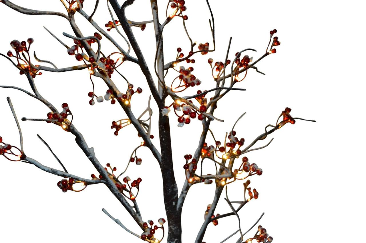 Pre-Lit Led Red Berry Snowy Twig Tree 120cm