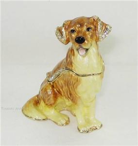 Swarovski Bejeweled Golden Retriever Dog Trinket Box