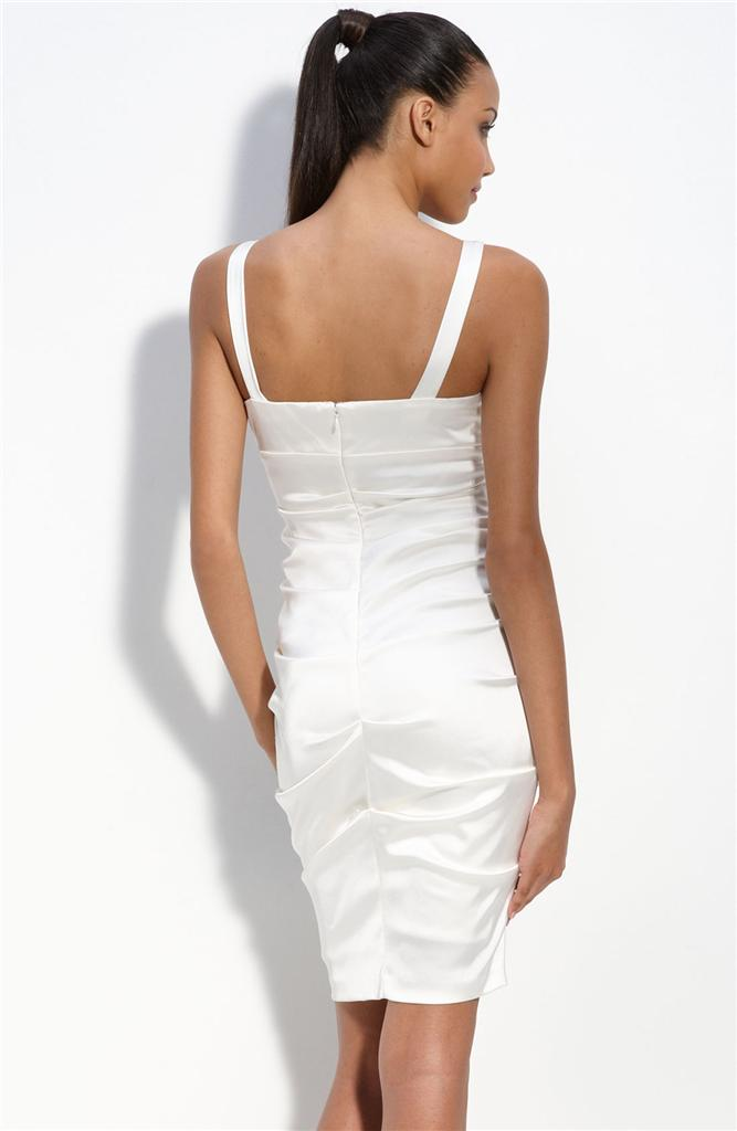 Xscape Ruched Stretch Satin Sheath Dress