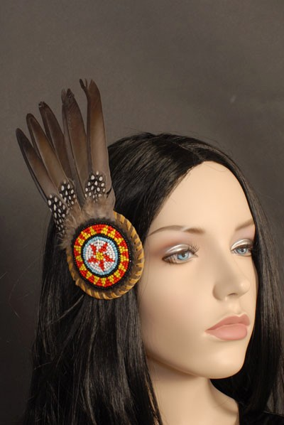 NATIVE AMERICAN INDIAN BEADED FEATHER HAIR CLIP NEW | eBay