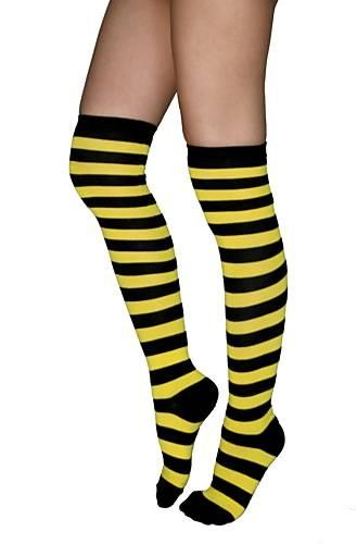 b5d41dc9880 BLACK AND YELLOW STRIPE BUMBLE BEE KNEE HIGH SOCKS STOCKINGS COSTUME ...