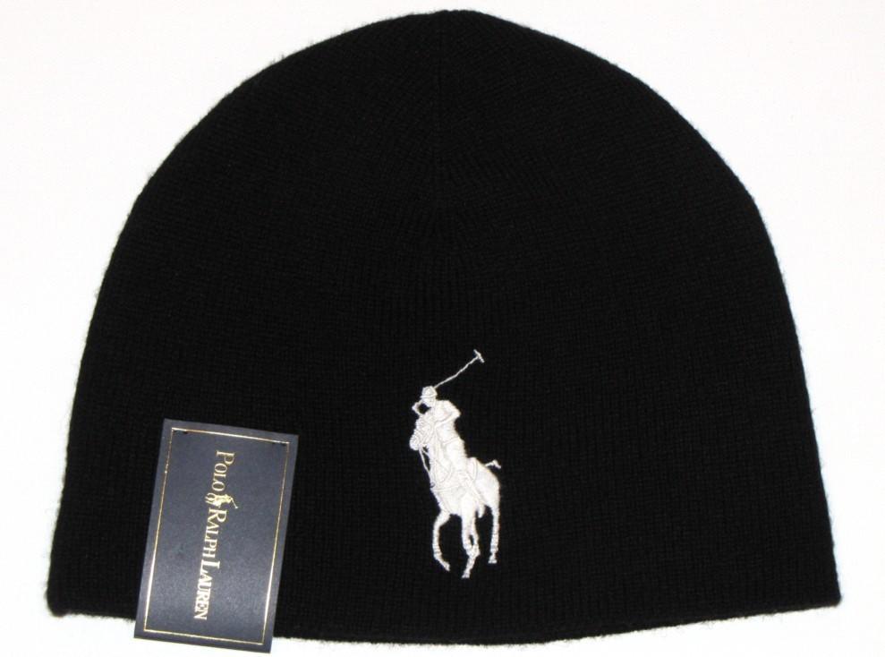 1b9729c2b8b Polo Ralph Lauren Mens Knit Hat Beanie Black 100 Merino Wool Big Pony
