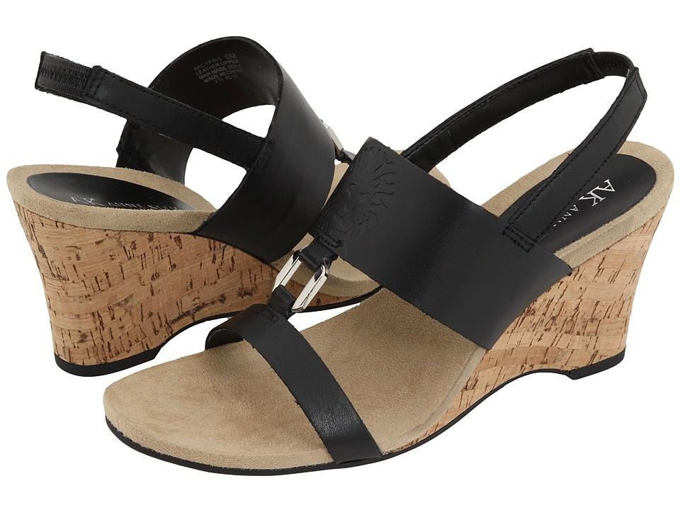 Anne Klein Cypris Black Leather Wedge Sandals New Ebay