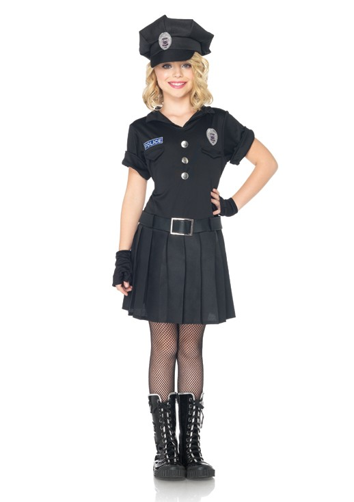 C48171 3pc Playtime Police Officer Cute Girls Kids Halloween Costume